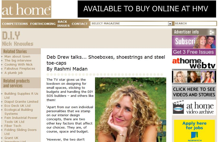 At Home Magazine - July 2012 - Deb Drew talks...