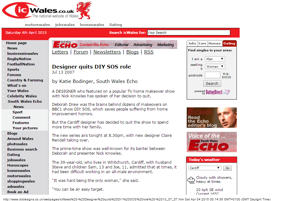 Western Mail - 13/07/07 - Designer quits DIY SOS role